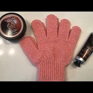 Pink Exfoliating Gloves Hand Lotion Body Butter
